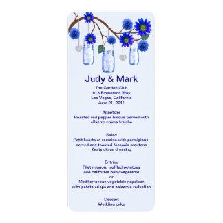 Blue Flowers Mason Jars Menu Card 10 Cm X 24 Cm Invitation Card