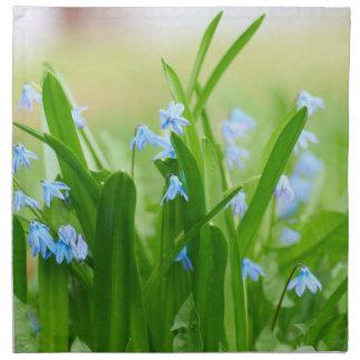 Blue flowers cloth napkin
