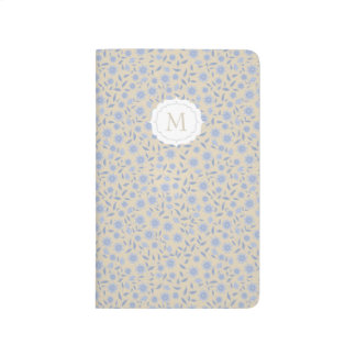Blue flowers on beige with monogram journal