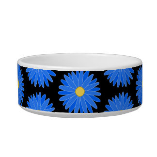 Blue Flowers on Black. Bowl