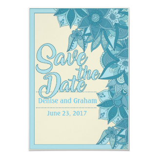 Blue flowers on Cream Save The Date Card