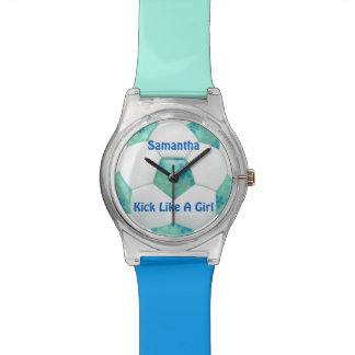 Blue Flowers on Teal Soccer Ball Watch