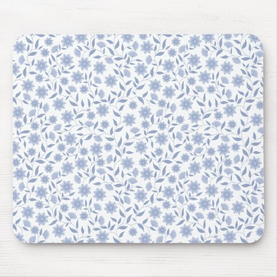 Blue flowers on white pattern mouse mat