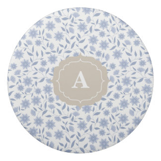 Blue flowers on white pattern with monogram eraser