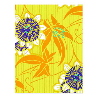 Blue Flowers on Yellow Post Cards