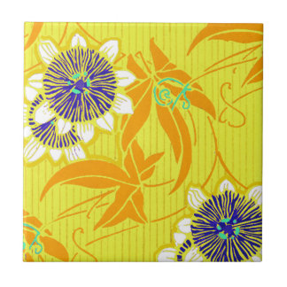 Blue Flowers on Yellow Small Square Tile