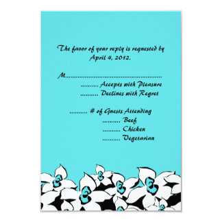 Blue Flowers Reply Cards with Menu Options 9 Cm X 13 Cm Invitation Card