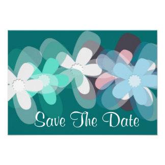 Blue flowers save the date personalized invites