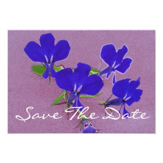 Blue flowers save the date custom invite