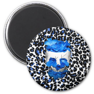 Blue Flowers Skull On Leopard Print 6 Cm Round Magnet