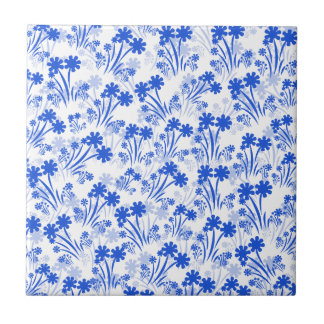 Blue Flowers Small Square Tile