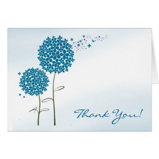 Blue Flowers Thank You Greeting Card