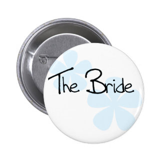Blue Flowers The Bride Pinback Buttons