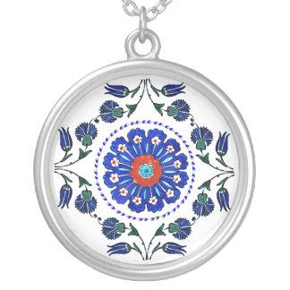 Blue Flowers - Turkey Round Pendant Necklace