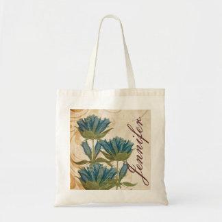 Blue Flowers Vintage Wedding Budget Tote Bag