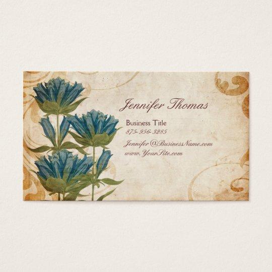 Blue Flowers Vintage Wedding Planner Business Card