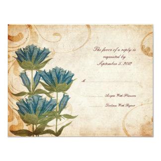 Blue Flowers Vintage Wedding RSVP Card