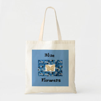 Blue Flowers w/Scripted Butterfly Tote Bag