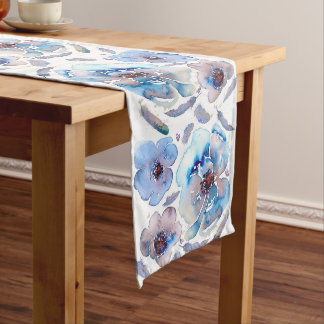 Blue Flowers Watercolor Long Table Runner
