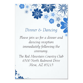 Blue Flowers Wedding Enclosure 9 Cm X 13 Cm Invitation Card