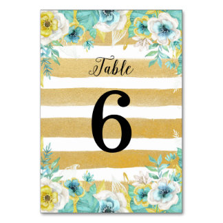 Blue Flowers Wedding Table Number Card