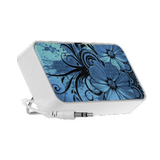 blue flowers with black lines vector art speakers