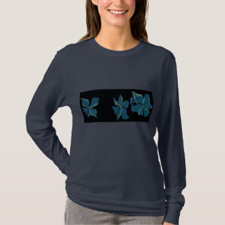 Blue Flowers With Mermaid T-Shirt