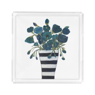 Blue Flowers with Striped Vase Acrylic Tray