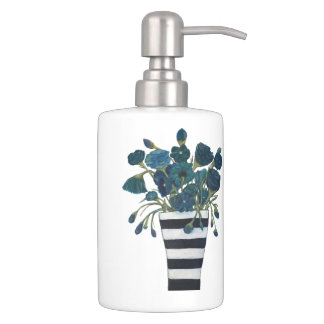 Blue Flowers with Striped Vase Fine Art Soap Dispenser And Toothbrush Holder