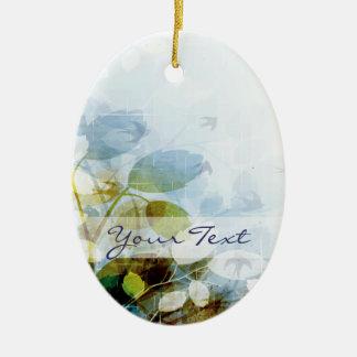 Blue Flowers with Tiny Birds Oval Ceramic Oval Decoration
