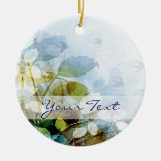 Blue Flowers with Tiny Birds Round Round Ceramic Decoration