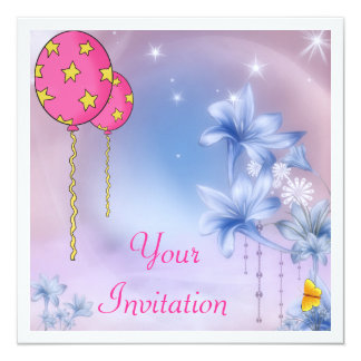 Blue Flowerworld Balloons & Butterfly Event 13 Cm X 13 Cm Square Invitation Card
