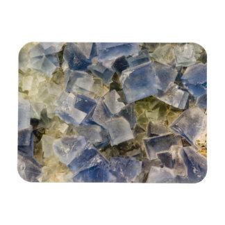 Blue Fluorite Crystals in Matrix Magnet