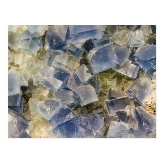Blue Fluorite Crystals in Matrix Postcard