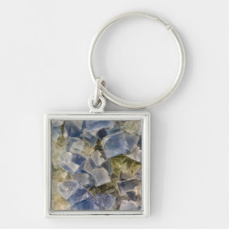 Blue Fluorite Crystals in Matrix Silver-Colored Square Key Ring