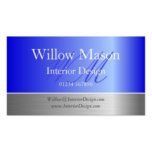 Blue Foil & Brushed Steel Monogram Business Card Business Card Templates