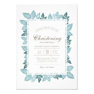 Blue Foliage   Watercolor Christening Invite