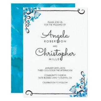 Blue Folk Art Floral Watercolor Wedding 13 Cm X 18 Cm Invitation Card