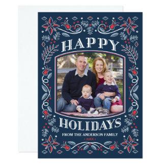 Blue Folk Art Happy Holidays Christmas Card 13 Cm X 18 Cm Invitation Card