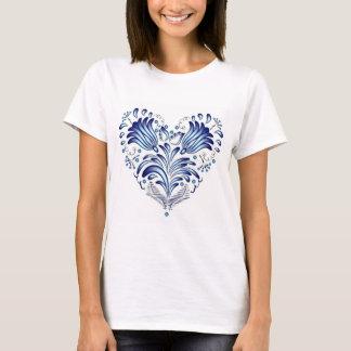 Blue folk art heart with flowers on basic t-shirt