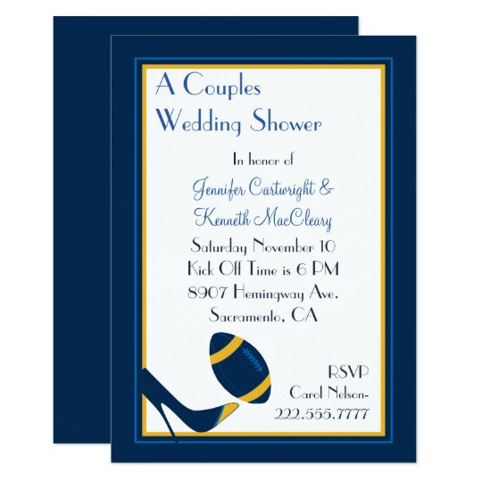 Blue Football Couples Wedding Shower Invitation