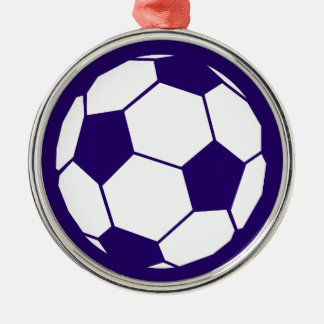 Blue Football Design Silver-Colored Round Decoration