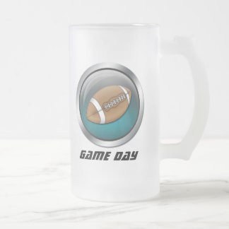 Blue : Football : Frosted Beer Stein Frosted Glass Mug