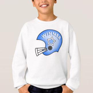 blue football helmet winner on sweatshirt
