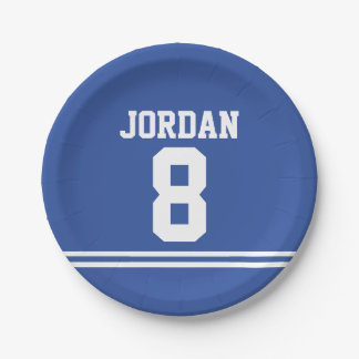 Blue Football Jersey - Sports Theme Birthday Party 7 Inch Paper Plate