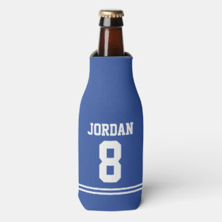 Blue Football Jersey - Sports Theme Birthday Party Bottle Cooler