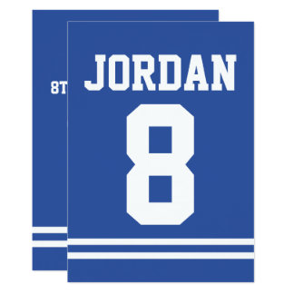 Blue Football Jersey - Sports Theme Birthday Party Card