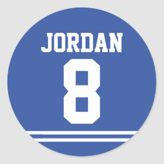 Blue Football Jersey - Sports Theme Birthday Party Classic Round Sticker