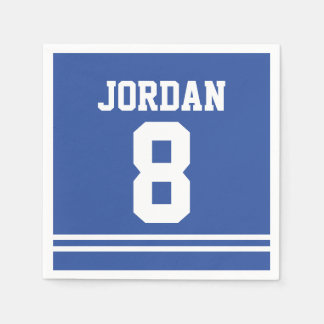Blue Football Jersey - Sports Theme Birthday Party Disposable Serviettes