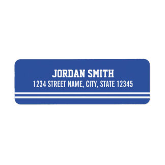 Blue Football Jersey - Sports Theme Birthday Party Return Address Label